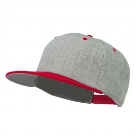 Heather Wool Blend Flat Bill Snapback Two Tone Cap - Red Grey