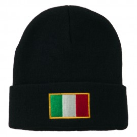 Europe Italy Flag Embroidered Long Cuff Beanie - Navy