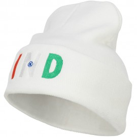 India IND Flag Embroidered Long Beanie