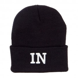 IN Indiana State Embroidered Long Beanie