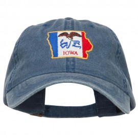 Iowa State Flag Map Embroidered Washed Cap