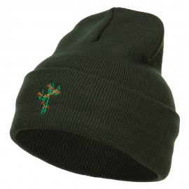 Christmas Cactus Embroidered Long Beanie