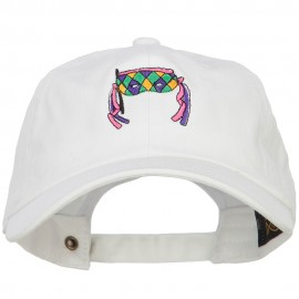Mardi Gras Half Face Mask Embroidered Washed Cap