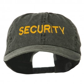 Security Letter Embroidered Big Size Washed Cap - Black