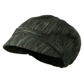 Jimi-Wool Blend Cabbie With Button Band Detail - Grey Tweed
