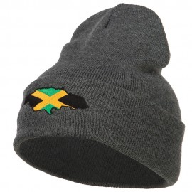 Jamaica Flag Map Embroidered Long Beanie