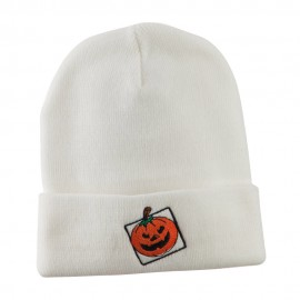 Halloween Jack o Lantern with a Square Box Embroidered Long Beanie