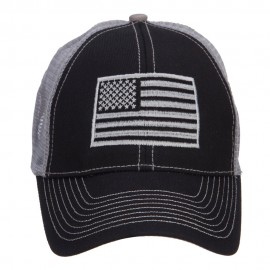 Silver American Flag Embroidered Trucker Cap