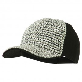 Jewel Cap with Stones and Pearls - Black