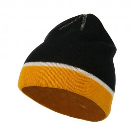 Jacquard Striped Knit Beanie