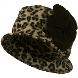 Ladies Flower Fleece Crushable Bucket Hat