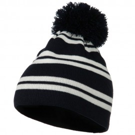 Jacquard White Stripe Knit Beanie with Pom - Navy