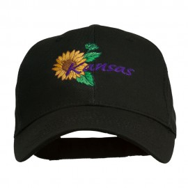 USA State Kansas Sunflower Embroidered Low Profile Cap