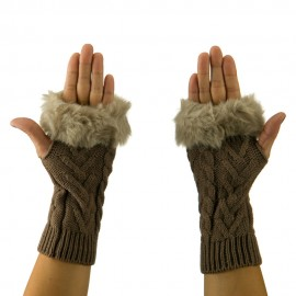 Knitted Fur Cuff Arm Warmer