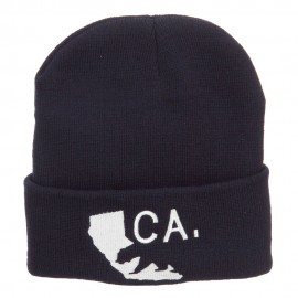 California State and Bear Embroidered Long Beanie