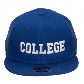 College Embroidered Cotton Snapback Cap