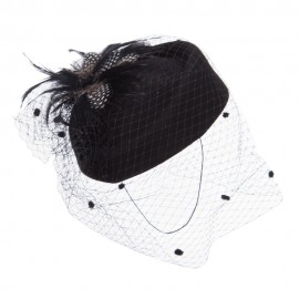Lace and Feather Wool Pillbox