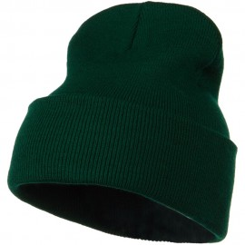 12 Inch Long Knitted Beanie - Dark Green