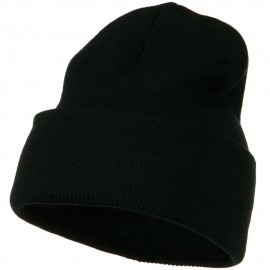 12 Inch Long Knitted Beanie - Black