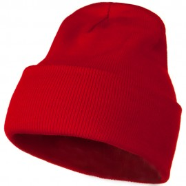 12 Inch Long Knitted Beanie - Red