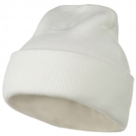 12 Inch Long Knitted Beanie - White