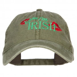 Kiss Me I'm Irish Embroidered Washed Cap
