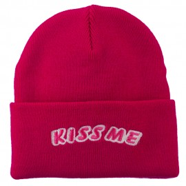 Kiss Me Embroidered Long Knit Beanie