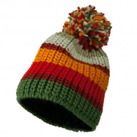 Colorful Knitted Pom Pom Beanie Cap