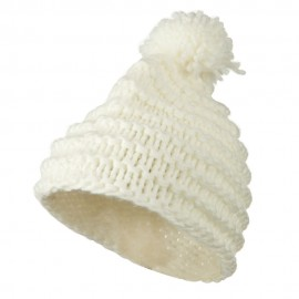 Knit Short Beanie Hat with Pom Pom - White