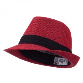 Kid's Paper Straw Black Band Fedora - Red