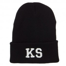 KS Kansas State Embroidered Long Beanie