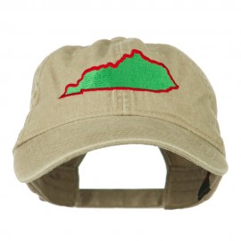 Kentucky State Map Embroidered Washed Cap