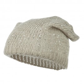 Knit Tam Beanie with Sequin - Lt Grey