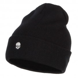 Mini Skull Embroidered Long Beanie