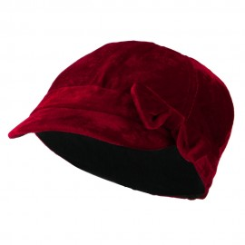 Kids Velvet Newsboy Hat - Red