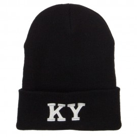 KY Kentucky State Embroidered Long Beanie
