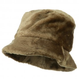 Faux Fur Large Brim Bucket Hat - Brown