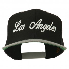 Los Angeles Embroidered Snapback Cap - Black Silver