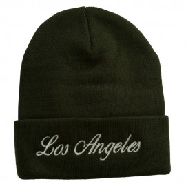Los Angeles Embroidered Long Cuff Beanie