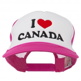I love Canada with Heart Embroidered Foam Front Mesh Back Cap