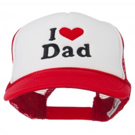 I Love Dad Heart Embroidered Foam Mesh Back Cap