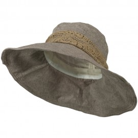 5 Inch Brim Lace Flower Accent Hat - Mocha