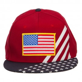 American Flag Patched Two Tone Snapback Cap