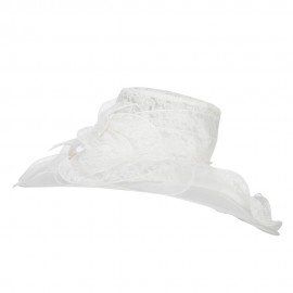 Lace Covered Wide Organza Hat