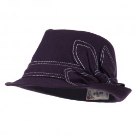 Ladies Fedora with Ribbon and Stitching - Purple