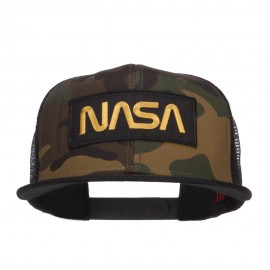 NASA Logo Patched Camo Flat Bill Cap