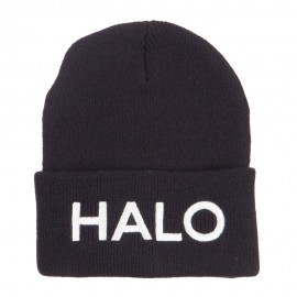 Halo Embroidered Long Beanie