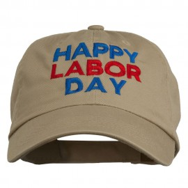 Happy Labor Day Embroidered Washed Cap