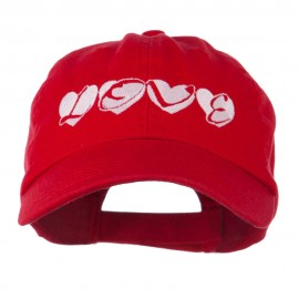 Love Hearts Embroidered Cotton Cap