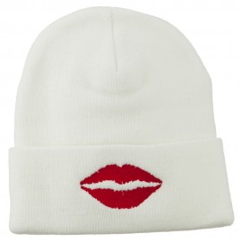 Lip Kiss Embroidered Cuff Long Beanie